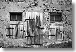 black and white, bohinj, doors, europe, horizontal, old, shutters, slovenia, windows, woods, photograph