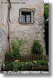 bohinj, europe, flowers, gardens, slovenia, vertical, windows, photograph
