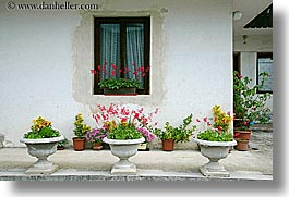 bohinj, europe, flowers, horizontal, houses, plants, potted, slovenia, windows, photograph