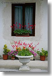 bohinj, europe, flowers, houses, plants, potted, slovenia, vertical, photograph