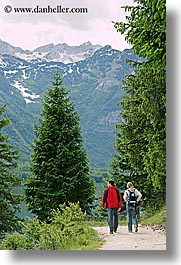 bohinj, couples, europe, hiking, mountains, paths, people, slovenia, vertical, walk, photograph