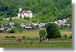 bohinj, churches, europe, hiking, horizontal, people, slovenia, walk, photograph