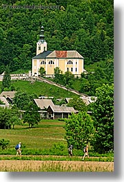 bohinj, churches, europe, hiking, people, slovenia, vertical, walk, photograph
