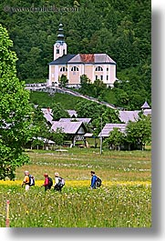 bohinj, churches, europe, hiking, people, slovenia, vertical, walk, wildflowers, photograph