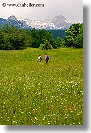 bohinj, europe, hiking, mountains, people, slovenia, vertical, walk, wildflowers, photograph