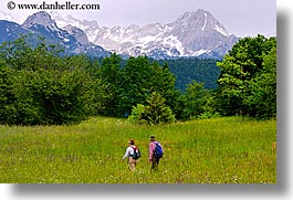 bohinj, europe, hiking, horizontal, mountains, people, slovenia, walk, wildflowers, photograph