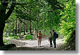 bohinj, europe, hiking, horizontal, james, janna, paths, people, richard, slovenia, trees, photograph