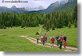 bohinj, europe, hiking, horizontal, mountains, paths, people, slovenia, walk, photograph