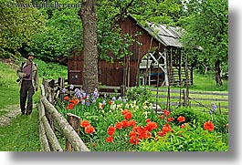 barn, bohinj, europe, flowers, gardens, hiking, horizontal, people, slovenia, stuart, walk, photograph