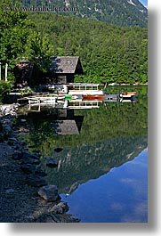 boathouse, bohinj, europe, lakes, reflections, slovenia, vertical, water, photograph