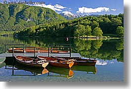 boats, bohinj, europe, horizontal, lakes, mountains, piers, reflections, slovenia, water, photograph