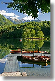 boats, bohinj, europe, lakes, mountains, piers, reflections, slovenia, vertical, water, photograph