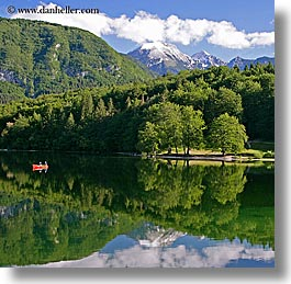 bohinj, canoes, europe, fishermen, lakes, mountains, reflections, slovenia, snowcaps, square format, squares, water, photograph
