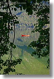 bohinj, branches, canoes, europe, fishermen, lakes, slovenia, trees, vertical, water, photograph