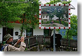 bohinj, europe, horizontal, men, mirrors, photographers, reflections, roads, slovenia, photograph