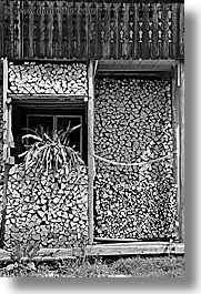 black and white, bohinj, europe, slovenia, stacked, vertical, windows, woods, photograph