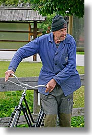 bicycles, bohinj, cigarettes, europe, men, old, people, slovenia, vertical, photograph