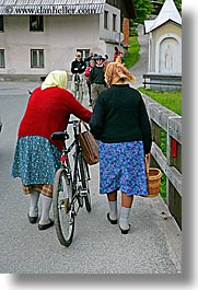 bicycles, bohinj, europe, old, people, slovenia, vertical, womens, photograph