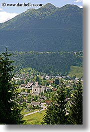 bohinj, europe, mountains, scenics, slovenia, towns, trees, vertical, photograph