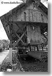barn, black and white, bohinj, europe, jesus, moniker, old, scenics, shack, slovenia, vertical, photograph