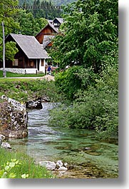bohinj, europe, houses, rivers, scenics, slovenia, vertical, photograph