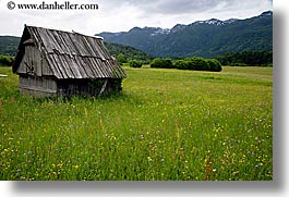 barn, bohinj, europe, horizontal, scenics, slovenia, wildflowers, photograph