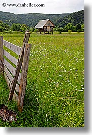 barn, bohinj, europe, scenics, slovenia, vertical, wildflowers, photograph