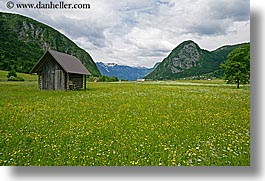 bohinj, europe, horizontal, scenics, shack, shed, slovenia, wildflowers, photograph