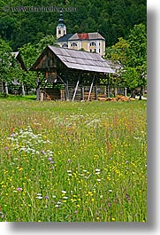 bohinj, europe, scenics, shack, shed, slovenia, vertical, wildflowers, photograph