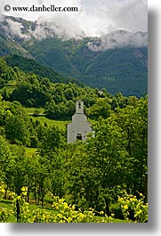 churches, clouds, dreznica, europe, mountains, slovenia, trees, vertical, photograph