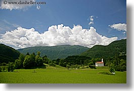 clouds, curch, dreznica, europe, horizontal, mountains, over, slovenia, photograph