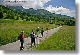 clouds, dreznica, europe, hikers, hiking, horizontal, paths, paved, slovenia, photograph