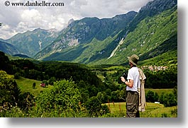 clouds, dreznica, europe, horizontal, men, mountains, scenery, slovenia, viewing, photograph