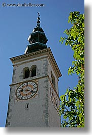 bell towers, clocks, europe, kobarid, slovenia, vertical, photograph