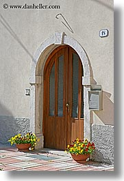 archways, doors, europe, flowers, kobarid, slovenia, vertical, photograph