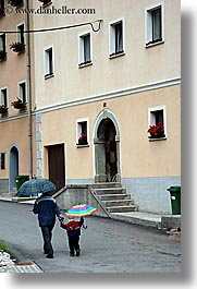 europe, fathers, krupa, slovenia, sons, umbrellas, vertical, photograph