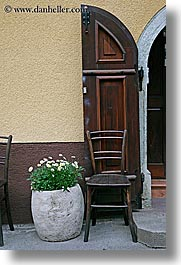 chairs, doors, europe, flowers, krupa, slovenia, vertical, photograph