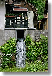 europe, houses, krupa, slovenia, stream, vertical, waterfalls, photograph