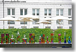arts, bottles, colored, europe, glasses, horizontal, ljubljana, slovenia, umbrellas, photograph