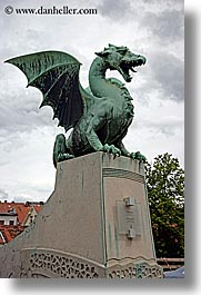 arts, bronze, dragons, europe, ljubljana, sculptures, slovenia, vertical, photograph