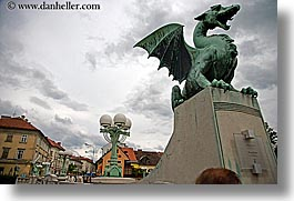 arts, bronze, dragons, europe, horizontal, ljubljana, sculptures, slovenia, photograph