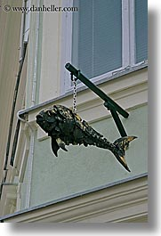 arts, bronze, europe, fish, hangings, ljubljana, sculptures, slovenia, vertical, photograph