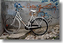 bicycles, bikes, europe, graffiti, horizontal, ljubljana, slovenia, photograph