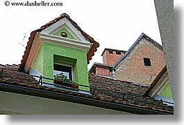 europe, flowers, green, horizontal, ljubljana, roofs, slovenia, windows, photograph