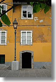 doors, europe, lamp posts, ljubljana, slovenia, vertical, windows, photograph