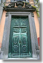 bronze, doors, europe, knights, ljubljana, monastery, slovenia, teutonic, vertical, photograph