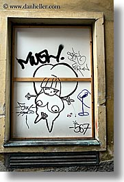 arts, europe, graffiti, ljubljana, nude, slovenia, vertical, windows, photograph