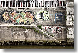 arts, europe, graffiti, horizontal, ljubljana, slovenia, stairs, vulgar, photograph