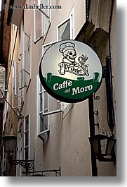 cafes, del, europe, ljubljana, moro, signs, skeleton, slovenia, vertical, photograph