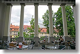 cafes, europe, horizontal, ljubljana, pillars, slovenia, photograph